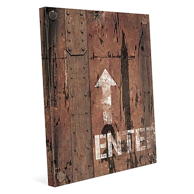 Click Wall Art 'Metal Enter Sign' Graphic Art on Wrapped Canvas; 10'' H x 8'' W x 0.75'' D