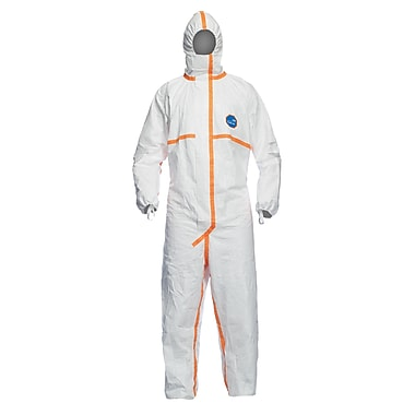 Dupont Personal Protection Coverall, Tyvek 800J, Hood&Taped Seam, White, Small, 10/Pack (TJCHA5TWHSM008000)