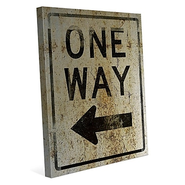 Click Wall Art 'One Way Left Weathered' Textual Art on Wrapped Canvas; 30'' H x 20'' W x 1.5'' D