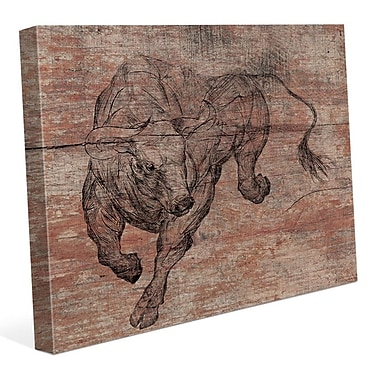 Click Wall Art 'Running Bull' Graphic Art on Wrapped Canvas; 20'' H x 30'' W x 1.5'' D