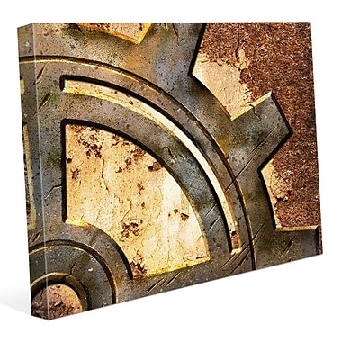 Click Wall Art 'Rusty Gear' Graphic Art on Wrapped Canvas; 16'' H x 20'' W x 1.5'' D