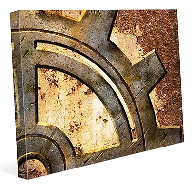 Click Wall Art 'Rusty Gear' Graphic Art on Wrapped Canvas; 20'' H x 30'' W x 1.5'' D