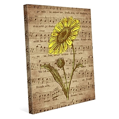 Click Wall Art 'Sepia Musical Sunflower' Graphic Art on Wrapped Canvas; 30'' H x 20'' W x 1.5'' D