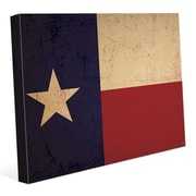 Click Wall Art 'Texas Flag Vintage' Graphic Art on Wrapped Canvas; 11'' H x 14'' W x 1.5'' D
