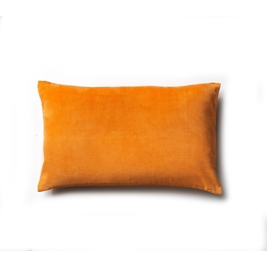 to BE living Plain Cotton Velvet Lumbar Pillow; Orange