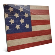 Click Wall Art 'American Flag on Wood Horizontal' Graphic Art; 16'' H x 20'' W x 1'' D