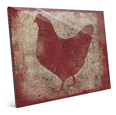Click Wall Art 'Chicken Silhouette on Wood' Graphic Art; 16'' H x 20'' W x 1'' D