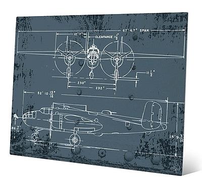 Click Wall Art 'Airplane Blueprint' Graphic Art; 16'' H x 20'' W x 1'' D