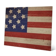 Click Wall Art 'American Flag on Wood Horizontal' Graphic Art; 8'' H x 10'' W x 1'' D