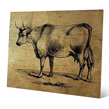 Click Wall Art 'Bull Ink Drawing Wood' Graphic Art; 11'' H x 14'' W x 0.04'' D