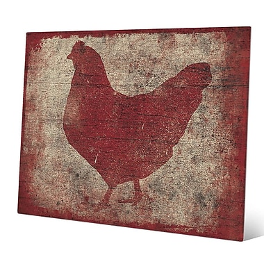 Click Wall Art 'Chicken Silhouette on Wood' Graphic Art; 20'' H x 30'' W x 0.04'' D