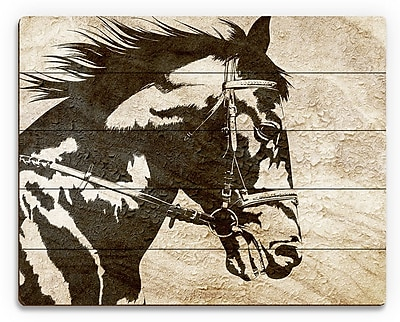 Click Wall Art 'Obsidian Sandstone Stallion' Graphic Art on Plaque; 20'' H x 30'' W x 1'' D