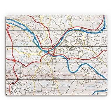 Click Wall Art 'Pittsburgh City Roads on Wood ' Graphic Art on Plaque; 20'' H x 30'' W x 1'' D