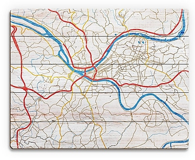 Click Wall Art 'Pittsburgh City Roads on Wood ' Graphic Art on Plaque; 16'' H x 20'' W x 1'' D