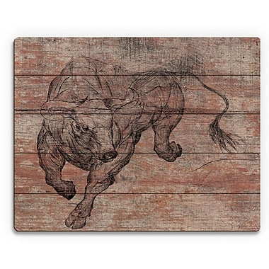 Click Wall Art 'Running Bull' Graphic Art on Plaque; 9'' H x 12'' W x 1'' D