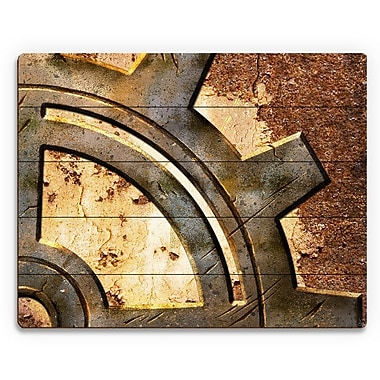 Click Wall Art 'Rusty Gear' Graphic Art on Plaque; 16'' H x 20'' W x 1'' D