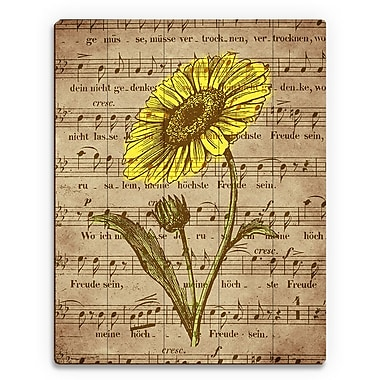 Click Wall Art 'Sepia Musical Sunflower' Graphic Art on Plaque; 30'' H x 20'' W x 1'' D