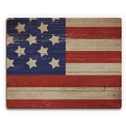 Click Wall Art 'American Flag on Wood Horizontal' Graphic Art on Plaque; 9'' H x 12'' W x 1'' D