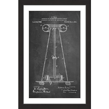 Marmont Hill 'Tesla Coil 1914 Chalk' by Steve King Framed Painting Print; 30'' H x 20'' W x 1.5'' D