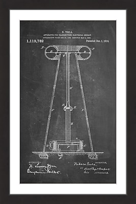 Marmont Hill 'Tesla Coil 1914 Chalk' by Steve King Framed Painting Print; 36'' H x 24'' W x 1.5'' D