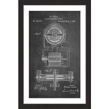 Marmont Hill 'Tesla Motor 1888 Chalk' by Steve King Framed Painting Print; 30'' H x 20'' W x 1.5'' D