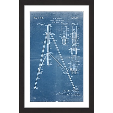Marmont Hill 'Tripod 1942 Blueprint' by Steve King Framed Painting Print; 18'' H x 12'' W x 1.5'' D