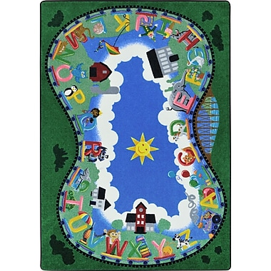 Joy Carpets Alphabet Railway Blue/Green Area Rug; 5'4'' x 7'8''