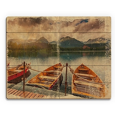 Click Wall Art 'Boat Trio Parchement' Graphic Art on Plaque; 9'' H x 12'' W x 1'' D