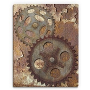 Click Wall Art 'Double Gear' Graphic Art /Rust on Plaque; 24'' H x 20'' W x 1'' D