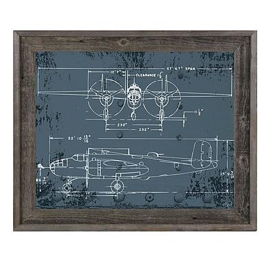 Click Wall Art 'Airplane Blueprint' Reclaimed Wood Framed Graphic Art; 14.5'' H x 17.5'' W x 1'' D