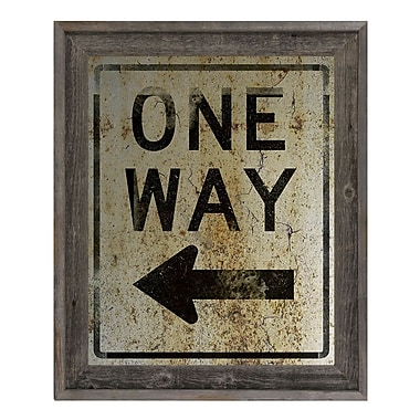 Click Wall Art 'One Way Left Weathered' Framed Textual Art; 27.5'' H x 23.5'' W x 1'' D