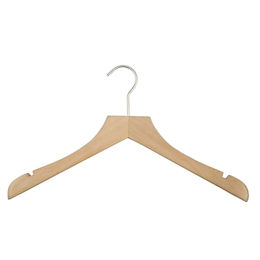 NAHANCO Concave Wooden Jacket Hanger (Set of 6); Beech Low Gloss
