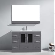 Virtu Zola 47.5'' Single Bathroom Vanity Set w/ Ceramic and Mirror; Grey
