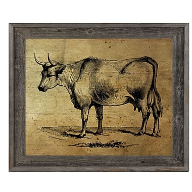 Click Wall Art 'Bull Ink Drawing Wood' Framed Graphic Art; 23.5'' H x 33.5'' W x 1'' D