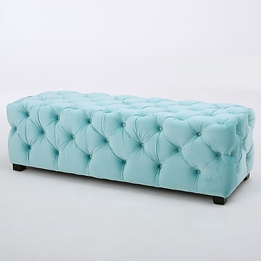 Home Loft Concepts Barrett Tufted Velvet Rectangular Ottoman; Aqua Green