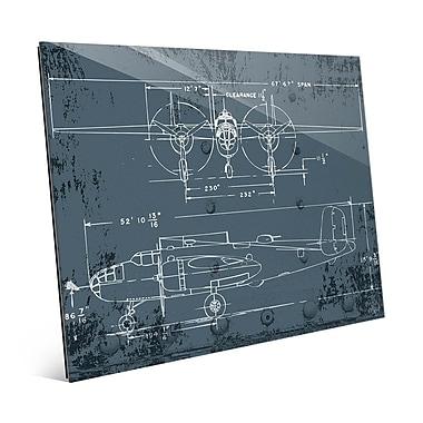 Click Wall Art 'Airplane Blueprint' Graphic Art; 11'' H x 14'' W x 1'' D