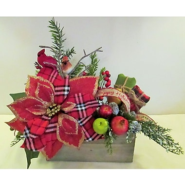 Silkmama Country Plaid Poinsettia Box Centerpiece