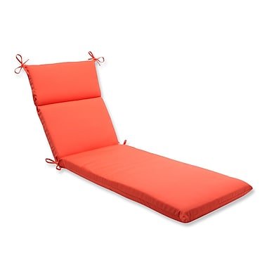 Pillow Perfect Canvas Outdoor Chaise Lounge Cushion; Melon