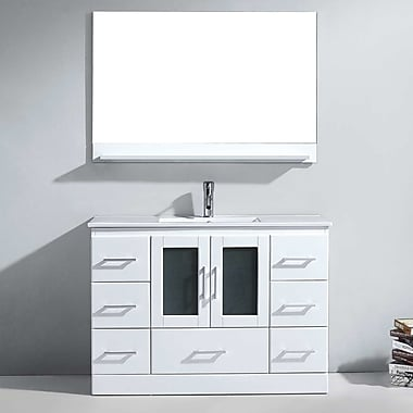 Virtu Zola 47.5'' Single Bathroom Vanity Set w/ Ceramic and Mirror; White
