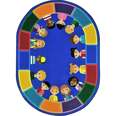 Joy Carpets Kid Essentials A World of Friends Area Rug; Round 5'4''