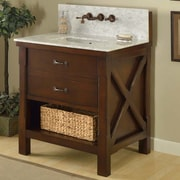 Direct Vanity Sink Xtraordinary Spa Premium 32'' Single Bathroom Vanity Set; Carrera White Marble