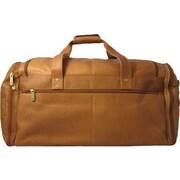 David King 20.5'' Leather Multi Pocket Travel Duffel; Tan