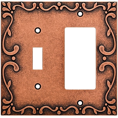 Franklin Brass Classic Lace Single Switch Decorator Wall Plate; Sponged Copper