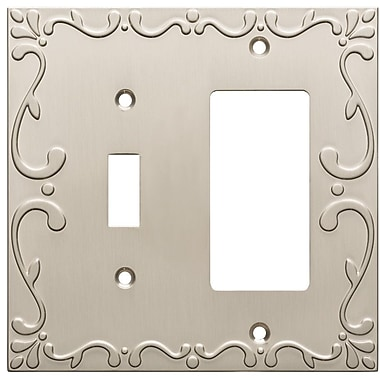 Franklin Brass Classic Lace Single Switch Decorator Wall Plate; Satin Nickel
