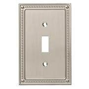 Franklin Brass Classic Beaded Single Switch Wall Plate; Satin Nickel