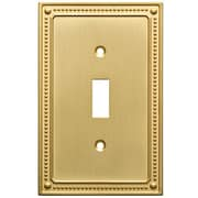 Franklin Brass Classic Beaded Single Switch Wall Plate; Brushed Brass