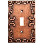 Franklin Brass Classic Lace Single Switch Wall Plate; Sponged Copper