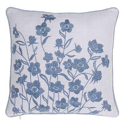 14 Karat Home Inc. Blooming Springs Embroidered Throw Pillow; Harbor
