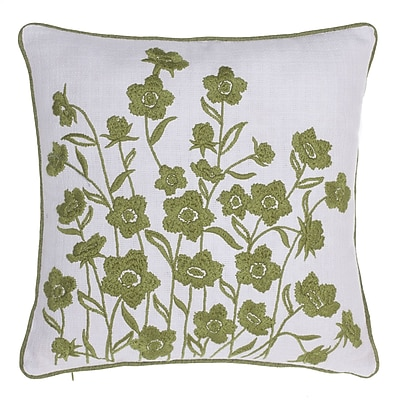 14 Karat Home Inc. Blooming Springs Embroidered Throw Pillow; Moss