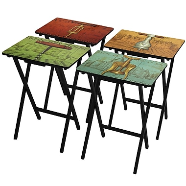 Oriental Furniture 4 Piece Vineyards of France TV Tray Set w/ Stand